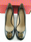NEW Tory Burch MELINA 85MM Wedge Pump Hand Painted Leather in BLACK/GOLD Size 9