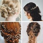 prom hair accessories silver - 3pcs Gypsophila Pearls Hair Pins Sticks Accessory Wedding Bride Prom Girl