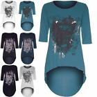 Womens Ladies Gothic Butterfly Skull Foil Print Dip Hem Batwing Hi Lo Tunic Top