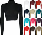 US STOCK!! Women Turtle Neck Long Sleeved Crop Top Shirts