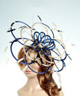Navy Blue & Taupe Nude Lillypad Saucer Disc Fascinator hat - choose any colours