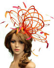 Orange & Hot Pink LargeFascinator hat highlight/choose any colour satin/feathers