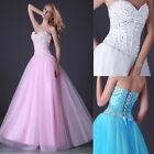 Lace up Back Long Evening Prom Party Quinceanera Weeding Pageant Formal Dress UK