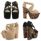 NEW LADIES CHUNKY BLOCK HEEL PEEP TOE PLATFORM BUCKLE STRAP PARTY SANDALS SHOES