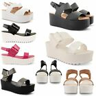 WOMENS LADIES DOLCIS CHUNKY SOLE GLADIATOR SUMMER WEDGES PLATFORM SANDALS SHOES