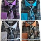 New Fratello Fashion Gingham Plaid Dress Shirt w/Tie and Hanky FRV4137P2 <br/> Teal, Brown Purple and Black