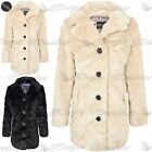New Ladies Warm Winter Faux Fur Button Coat Womens Collared Long Sleeve Jacket
