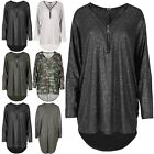 Womens Lagenlook Shiny Glitter Zipped Up Oversized Ladies Long Sleeve Hi Low Top