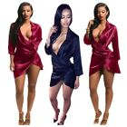 Sexy Women Satin Quality Deep V Neck Wrap Mini Summer Beach Casual Dress Party