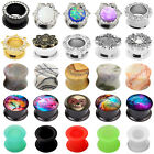 Pair Silicone&Acrylic&Stone&Stainless Steel Ear Plug Tunnel Gauge Ear Stretching
