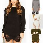 Ladies Womens Distressed Jumper Chunky Knitted Oversized Ripped Dress