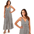 Pistachio Womens Aztec Pattern Print Strappy Plunge V Neck Summer Maxi Dress