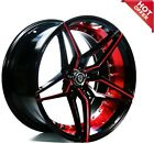 """20"""" Staggered or Non Staggered MQ Wheels 3259 Black Red Inner Rims"""