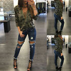 HOT Women's Long Sleeve Lace Up Camouflage Shirt Blouse Tops Lady Loose T Shirt