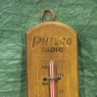 ANTIQUE ADVERTISING WOOD THERMOMETER PHILCO RADIO BROOKLYN NY MUSIC SHOP