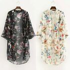 Summer Tops Women Blouse Printed Half Sleeve Chiffon Kimono Cardigan Casual Coat