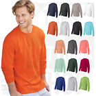 Hanes Mens 100% Cotton Long Sleeve Beefy-T Crew Neck T-Shirt  S-3XL - 5186