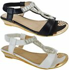 LADIES WOMENS MID LOW HEEL WEDGE SUMMER WEDDING BEACH DIAMANTE SANDALS SIZE 3-8