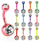 Navel Belly Button Bar Ring Vibrant Neon Titanium Anodized Double Gem Piercing