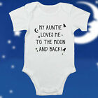 Love To The Moon and Back Auntie Nanna Mummy Bodysuit Baby Vest Cute Gift #54