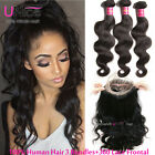 Brazilian Body Wave Human Hair 3 Bundles With 360 Lace Frontal Closure Hair Weft