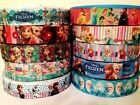 Disney Frozen Fever Elsa Anna Olaf Grosgrain Pink Blue Ribbon Hair Bow Cake 1m