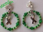 Awareness Ribbon drop clip earrings/charm – Breast Cancer, Autism, Macmillan etc