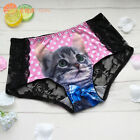 New Stylish Women Lace Panties 3D Printed Cat Seamless Briefs Underwear