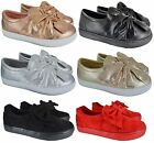 Kyпить LADIES WOMENS SLIP ON FLAT LOAFER BOW SNEAKERS PUMPS TRAINERS SHOES SIZE 3-8 NEW на еВаy.соm