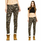 New Womens Slim Skinny Army Military Dark Green Camouflage Pants Trousers Jeans