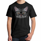Hipster Cat T-Shirt Cool Cat Wearing Glasses Chillin 2031