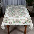 "WHITE/TAUPE LACE TABLECLOTH (#24) - MADE IN SCOTLAND APPROX.68"" X 52"""