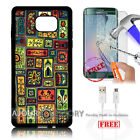Samsung S6 Edge+ Plus 5.7' Case Cover Tempered Glass Film A4881 Tribal Culture
