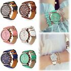 Women Geneva Roman Numerals Leather Analog Quartz Girl Wrist Watch Wristbands