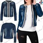 Womens Ladies Denim Jean Front Zip Up Floral Sequin Beads Faded Crop Jacket Top