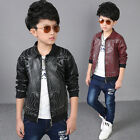 Fashion Fall Winter Toddler Kids Boys Cool Leather Jacket Coats Children Coat#56