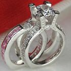 Pink Sapphire Insert 925 Sterling Silver Bridal Engagement Ring Wedding Ring Set