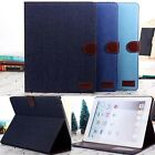 Denim Jean Leather Magnetic Stand Card Case Smart Cover For Apple iPad 2 3 4 Air