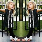 2PCS Toddler Kids Baby Girl T-shirt Tops+Long Ruffles Pants Leggings Clothes Set