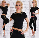 New Women's Capri Tracksuit Jogging's With Gold Chain Leisure Gym Suit 8,10,12
