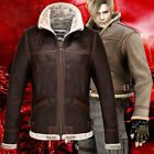 Men's Resident Evil 4 Leon Thicken Warm PU Leather Collared Jacket Brown
