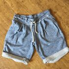 ZARA BABY BLUE SWEATSHIRT STYLE SHORTS ROLL UP HEM TIE WAIST MEDIUM LARGE Z196