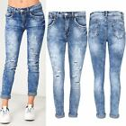 Women Ladies Cut Out Ripped Faded Destroyed Straight Fit Roll Up Hem Denim Jeans