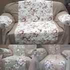 Quilted Sofa Settee Cotton Arm Caps & Chair Protector Cover Throw Floral Set