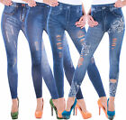 Damen Stretch Hose Jeans-Look Optik Röhre Skinny Leggings Treggings Jeggings F5