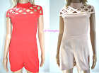 BY EVITA CHOKER RED NUDE PEACH CAGED CUT OUT DETAIL SHORTS PLAYSUIT GIRLS WOMENS