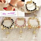 JB12 Girls Pretty Leather Rope Alloy Crystal Rhinestone Popular Charm Bracelets