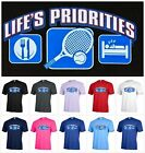 Life's Priorites Eat Sleep Tennis sport Funny Graphic T-shirt Adult tee P510