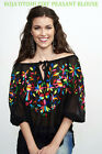 ROJA~Spring '17~OTOMI 'TOO'~Whimsical~Embroidered Black Peasant Blouse