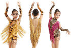 New child girls leopard tiger sequins tassel dress latin ballroom dance costume